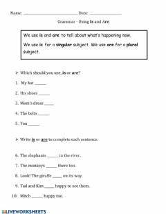 Interactive worksheet Using Is and Are