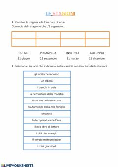 Interactive worksheet Stagioni 1
