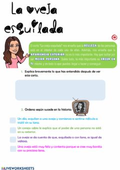 Interactive worksheet La oveja esquilada