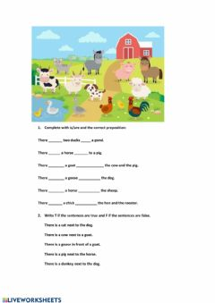 Ficha interactiva Prepositions, there is there are