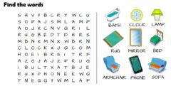 Interactive worksheet Wordsearch objects in the house