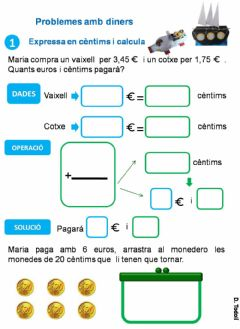 Interactive worksheet Problemes amb euros i cèntims