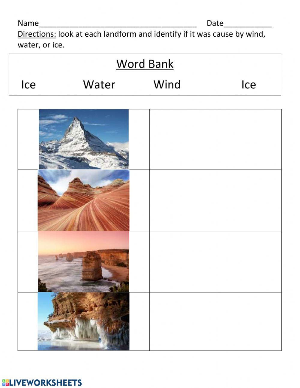 Ice,wind, water landforms worksheet