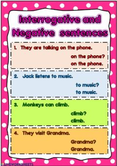 Interactive worksheet Interrogative, Negative
