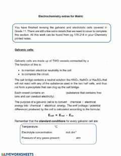 Interactive worksheet Electrochemistry extras