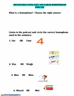 Interactive worksheet JAKE AND SARAH HOMOPHONES