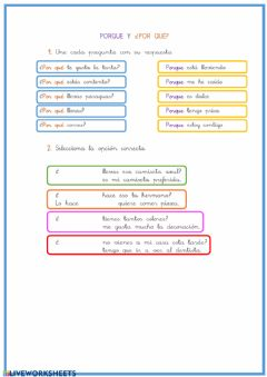 Interactive worksheet Por qué y Porque