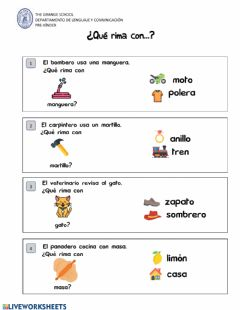 Interactive worksheet Qué rima con