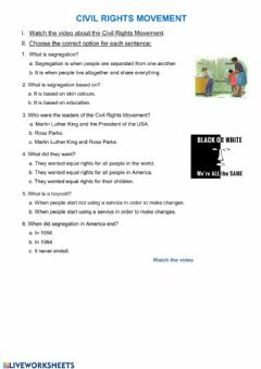 Interactive worksheet Civil Rights Movement, video