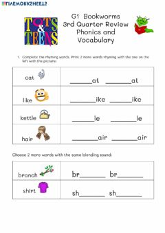 Interactive worksheet Phonics and Vocab Review G1 Bookworms April 29