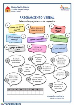 Interactive worksheet Razonamiento verbal
