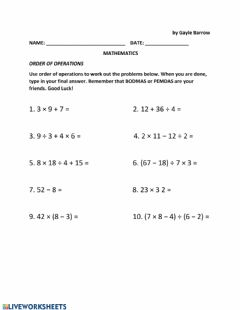 Interactive worksheet Order of Operation