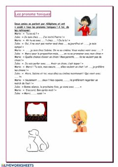 Interactive worksheet Pronoms Toniques
