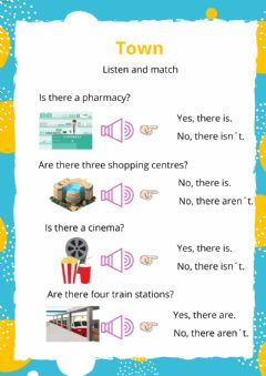 Interactive worksheet Listening and match-Is there...Are there...