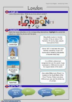 Ficha interactiva Travel English. Reading - London