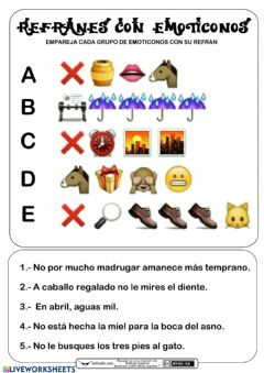 Interactive worksheet Refranes con emoticonos