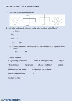 Interactive worksheet Tijela