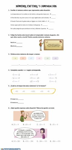 Interactive worksheet Números enteros y comparación