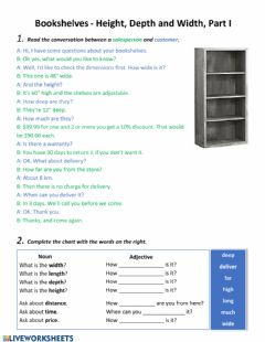 Ficha interactiva Bookshelves - Height, Depth and Width, Part I