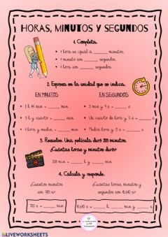 Interactive worksheet Horas, minutos y segundos