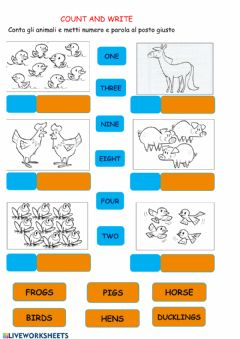 Interactive worksheet Animals and numbers