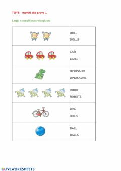 Interactive worksheet Toys singolare plurale