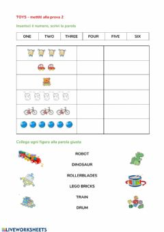 Interactive worksheet Toys & numbers