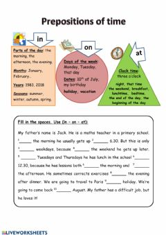 Ficha interactiva Prepositions of times