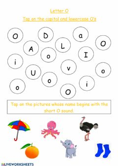 Interactive worksheet Letter O