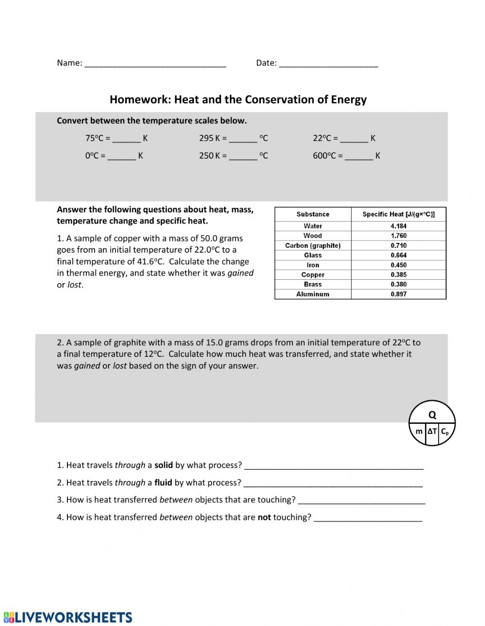 Heat Law Of Conservation Of Energy Worksheet