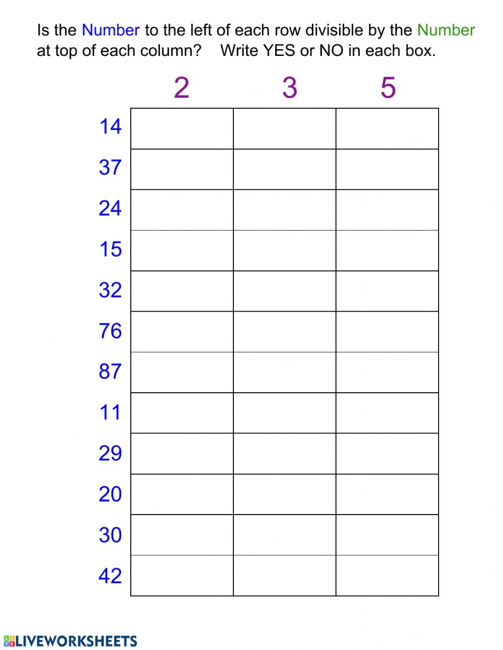 Divisibility Interactive Worksheet