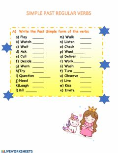 Interactive worksheet Simple past regular verbs quiz