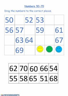 Interactive worksheet Numbers 50- 70