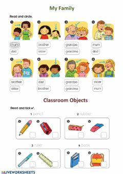 Interactive worksheet My family + Classroom Objects