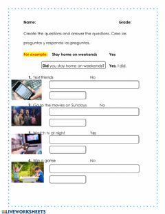 Interactive worksheet Use of did and didn-t