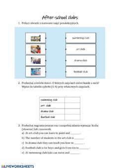Interactive worksheet After-school-club