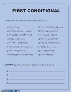 Ficha interactiva First Conditional - match and dictation