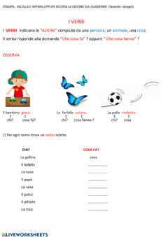 Interactive worksheet Il verbo