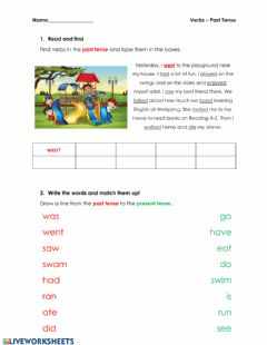 Interactive worksheet ELA Past Tense Assessment