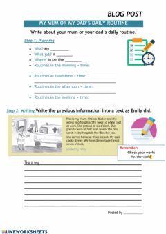 Interactive worksheet My dad or mum's daily routines