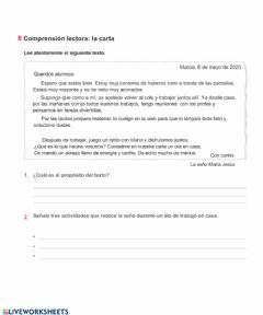 Interactive worksheet La carta tercero