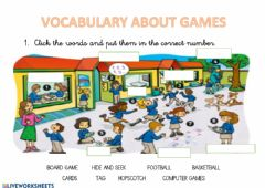 Interactive worksheet Playground games