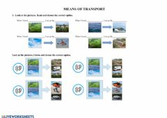 Interactive worksheet Means of transport: reading and listening