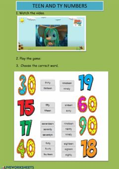 Interactive worksheet Teen and ty numbers