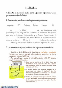 Interactive worksheet La Biblia.
