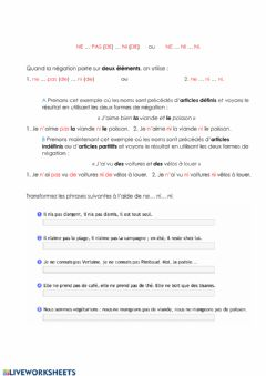 Interactive worksheet Ne ... pas (de) ... ni (de) - Ne ... ni ... ni. et la restriction