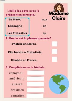 Interactive worksheet Les pays