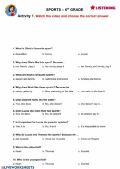 Interactive worksheet Sports 6th