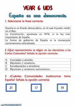 Interactive worksheet España es una democracia