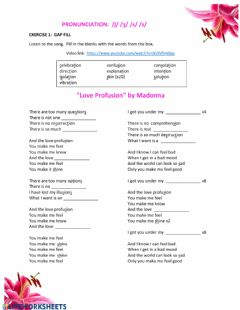 Interactive worksheet -ʃ- & -ʒ- -s- & -z-Love Profusion pronunciation activity